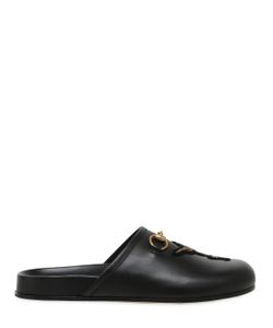 Gucci | Embroide Patch Leather Mule Loafers