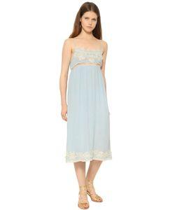 Blugirl | Viscose Crepe Lace Midi Dress