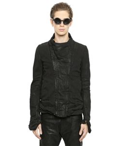 Julius | Coated Cotton Denim Moto Jacket