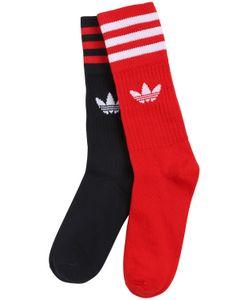 Adidas Originals | Logo Stripes Cotton Blend Crew Socks