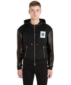 Fausto Puglisi   Leather Techno Sweatshirt Jacket