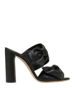 Casadei | 100mm Bow Leather Mules W/ Chunky Heel