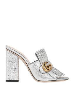 Gucci | 105mm Marmont Gg Crackled Leather Mules