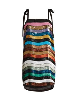 ATTICO   Sabrina Striped Sequin-Embellished Mini Dress