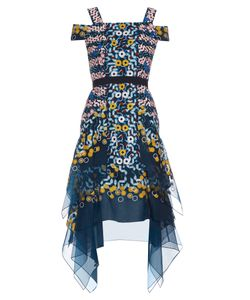 Peter Pilotto | Japanese Abstract-Embroide Silk-Organza Dress