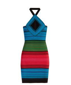 Balmain   Halterneck Striped Mini Dress