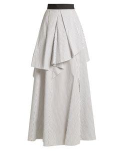 Brunello Cucinelli   Tie Pinstriped Cotton-Poplin Skirt