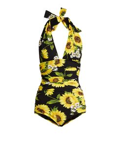 Dolce & Gabbana | Sunflower-Print Halterneck Swimsuit