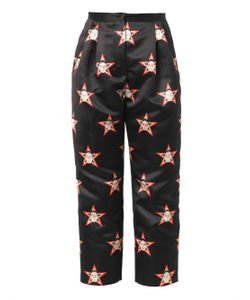 Caterina Gatta | Faces And Stars-Print Satin Trousers