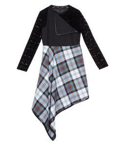 Danielle Romeril   Maki Tartan-Check And Flocked-Lace Midi Dress