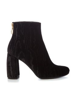 Stella McCartney   Ribbon Curved-Heel Velvet Ankle Boots