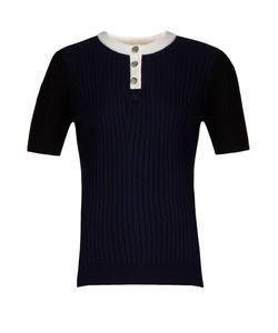 Courrèges | Contrast-Neckline Ribbed-Knit Top