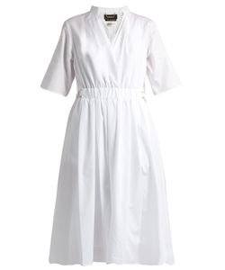 Muveil   V-Neck Gathe Cotton Midi Dress