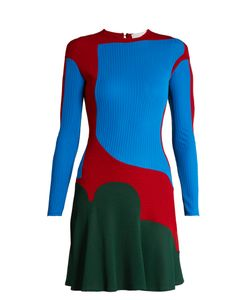 ESTEBAN CORTÁZAR   Colour-Block Ribbed-Knit Dress