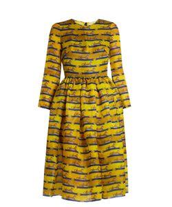 Mary Katrantzou | Wilson Striped Cheetah-Print Satin Dress