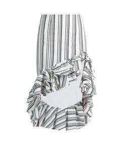 CAROLINE CONSTAS | Striped Ruffled-Hem Pencil Skirt