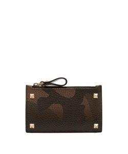 Valentino   Rockstud Camouflage-Print Leather Cardholder