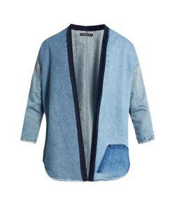 Longjourney   Distressed Open-Front Denim Jacket
