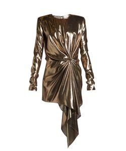 Saint Laurent   Gathe Draped-Front Lamé Mini Dress