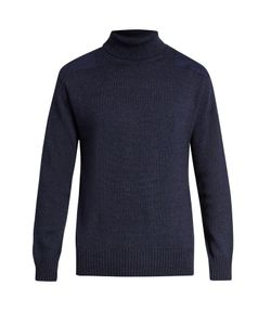 Blue Blue Japan | Patch-Shoulder Roll-Neck Sweater