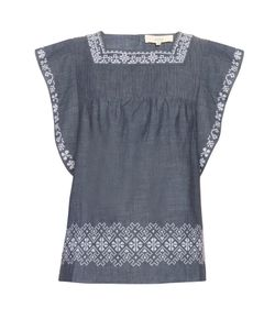 Vanessa Bruno Athé | Elba Embroidered Cotton Top