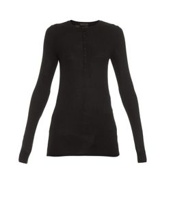 ATM   Henley Long-Sleeved Ribbed-Jersey Top