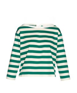 Moncler   Long-Sleeved Striped Cotton-Jersey Top