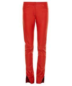 Loewe | Mid-Rise Slit-Hem Leather Trousers