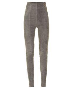 Balmain | High-Rise Skinny-Leg Suede Trousers