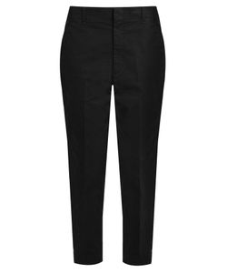 Vince | Cotton-Blend Mid-Rise Tapered Trousers