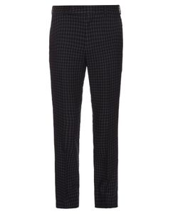 Paul Smith   Checked Slim-Leg Wool And Linen-Blend Trousers