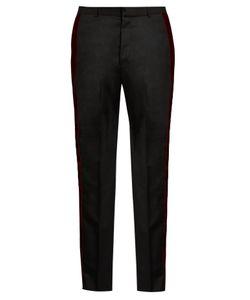 Alexander McQueen   Velvet-Trimmed Straight-Leg Wool Trousers