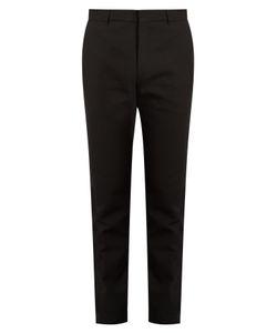 Balmain   Satin-Stripe Slim-Leg Cotton Trousers