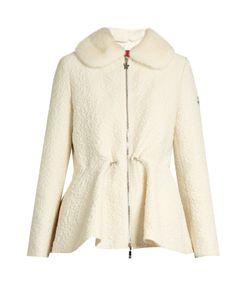 Moncler Gamme Rouge   Detachable Fur-Collar Wool-Blend Cloqué Jacket