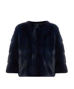 LILLY E VIOLETTA | Bomber Collarless Mink-Fur Jacket