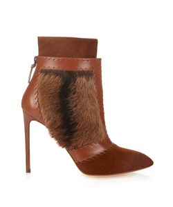 Francesco Russo   Calf-Hair And Leather Ankle Boots