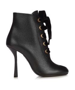 Lanvin   Velvet Lace Leather Ankle Boots