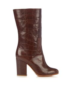 Alexa Wagner   Heidi Crocodile-Effect Leather Boots