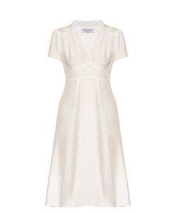 HVN | Morgan Palm-Print Short-Sleeved Dress