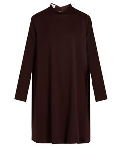 RAEY | Stand-Collar Crepe Trapeze Dress