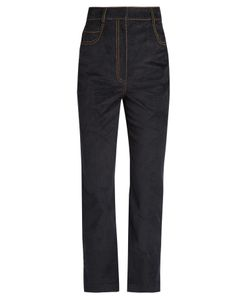 Isa Arfen | Velvet-Touch Denim Straight-Leg Cropped Jeans