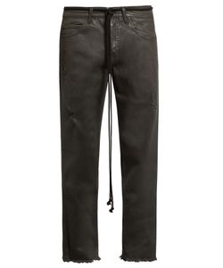 Off-White | Frayed Mid-Rise Cropped Jeans