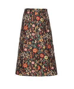 RED Valentino | Fancy Flower-Jacquard A-Line Midi Skirt