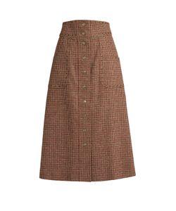 RED Valentino | Eyelet-Embellished Wool-Tweed A-Line Skirt