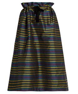 Isa Arfen | Drawstring-Waist Striped Taffeta Skirt