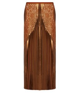 Stella McCartney | Lace-Panel Pleated Lamé Midi Skirt