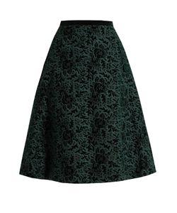 Rochas | Floral-Embroidered Velvet A-Line Skirt