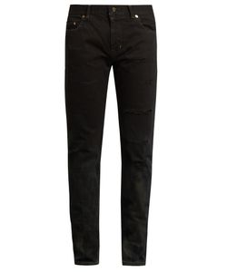Saint Laurent | Stained-Effect Distressed Skinny Jeans