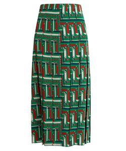 Gucci | Chain-Print Pleated Silk Skirt