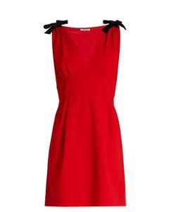 Miu Miu   Deep V-Neck Sleeveless Cady Mini Dress